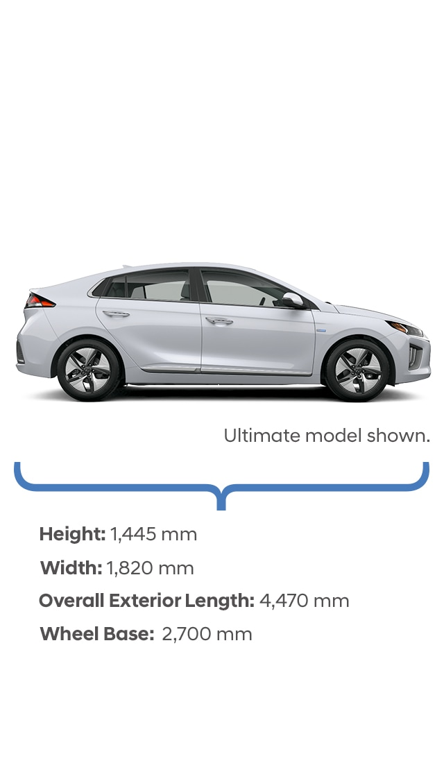 Height and width specifications of the 2020 IONIQ Hybrid