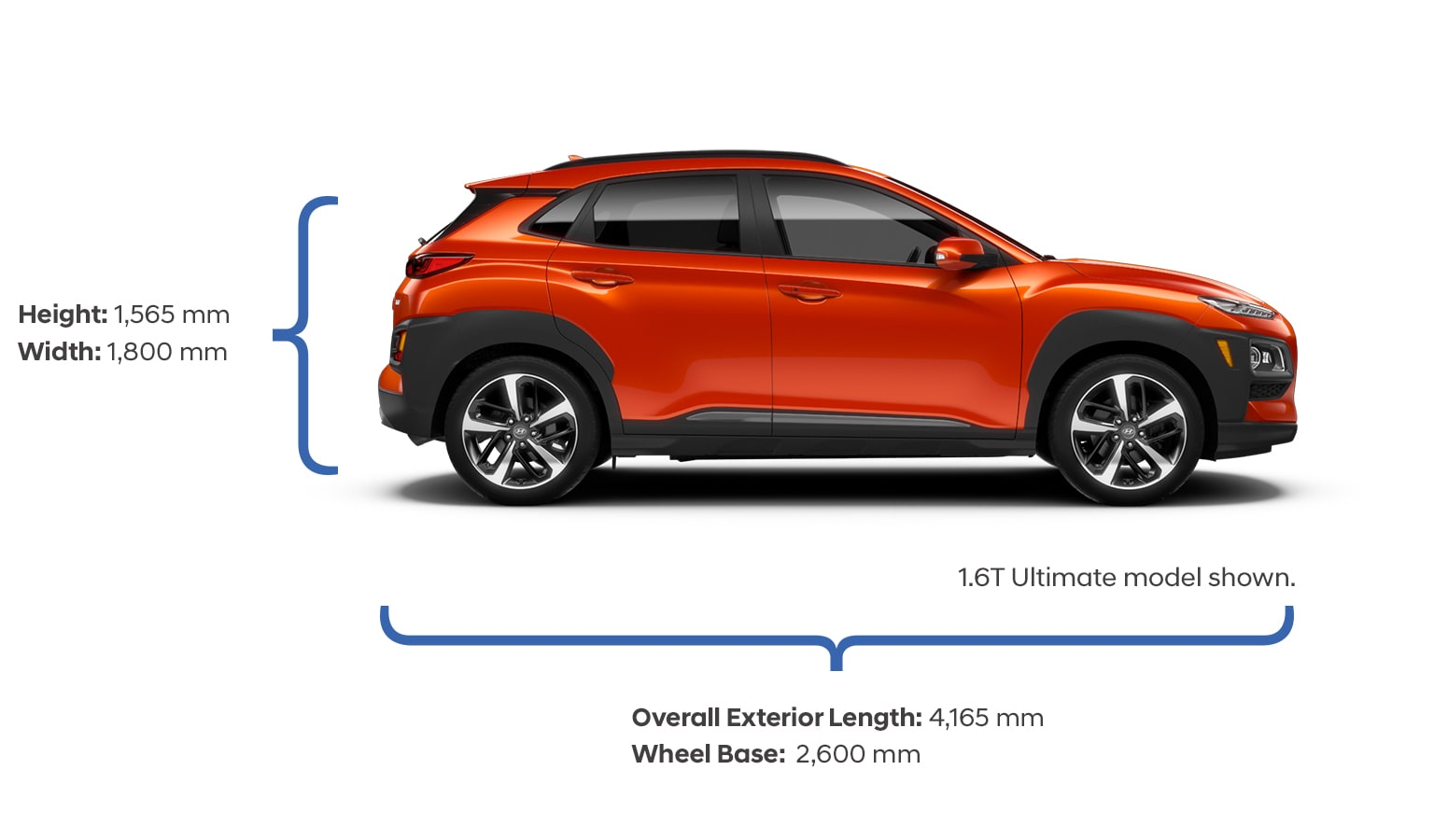 Height and width specifications of the 2020 KONA.