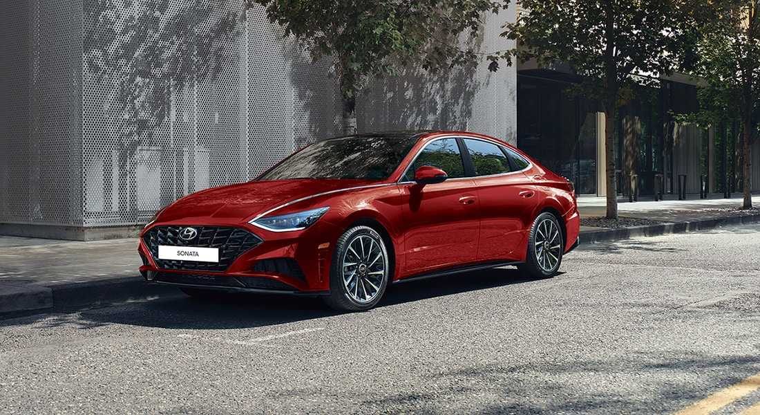 Image of a parked red 2020 Sonata