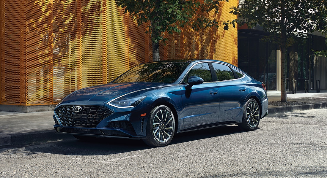 Image of a parked blue 2020 Sonata