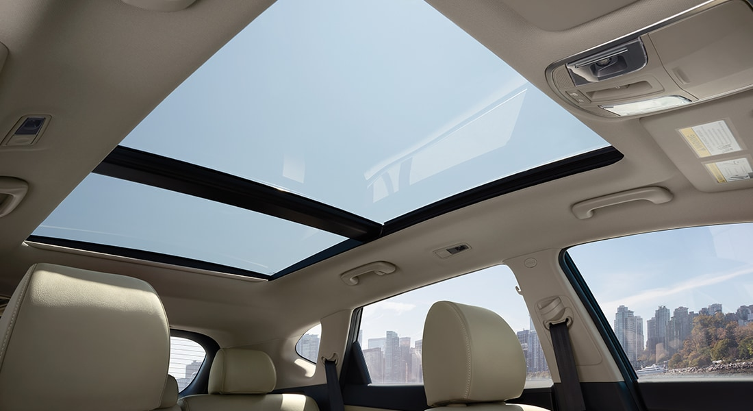 Interior panoramic sunroof on the 2020 Tucson.