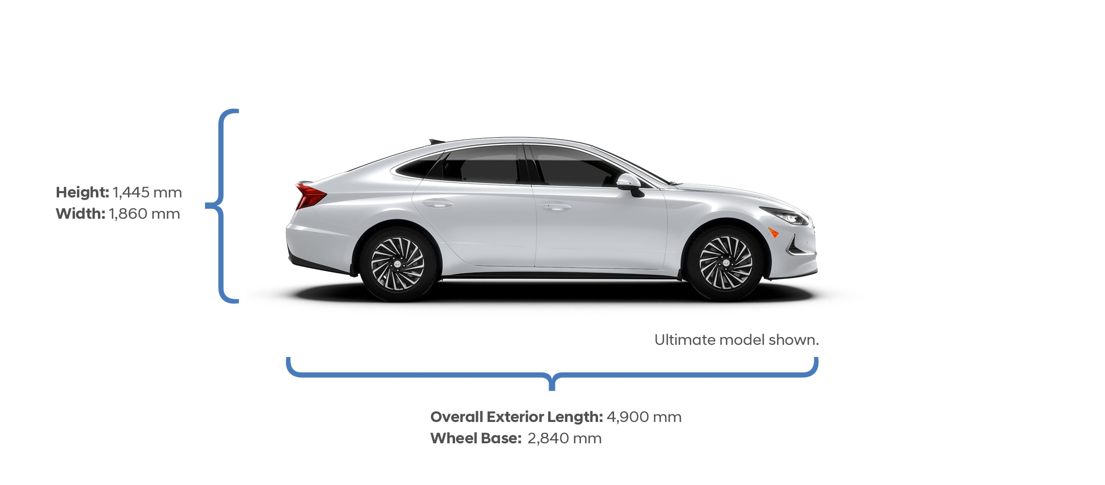 Height and width specifications of the 2020 Sonata Hybrid.