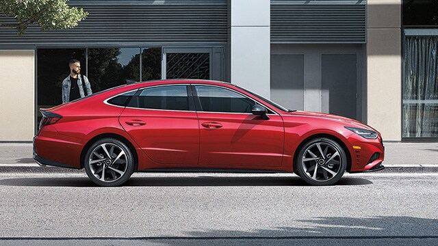 Image of a parked red 2021 Sonata