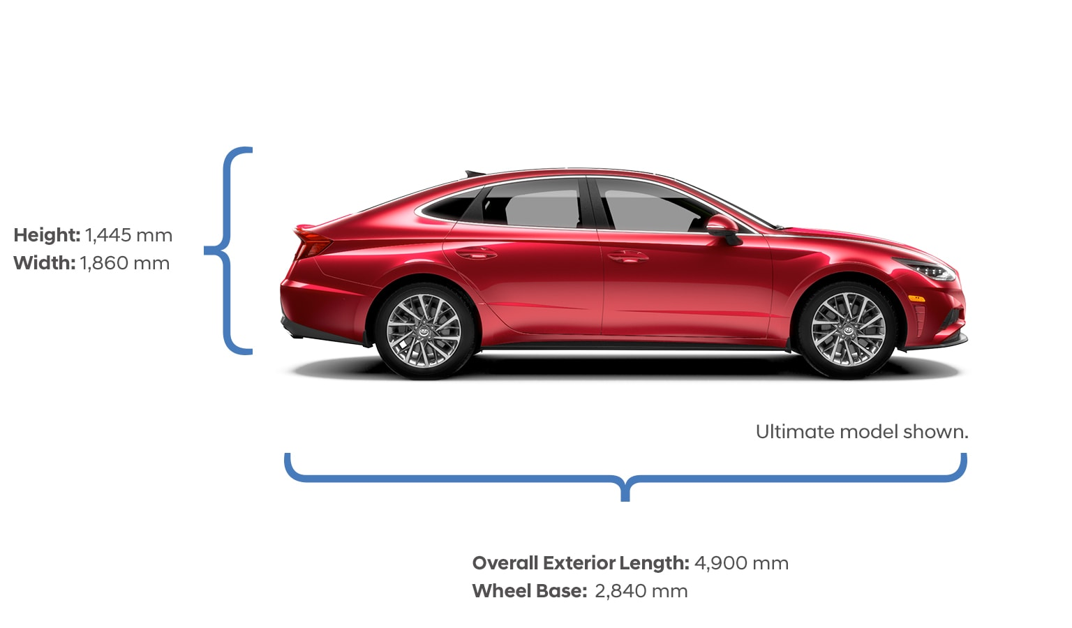 Height and width specifications of the 2020 Sonata.