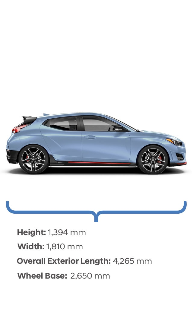 Height and width specifications of the 2020 Veloster N.
